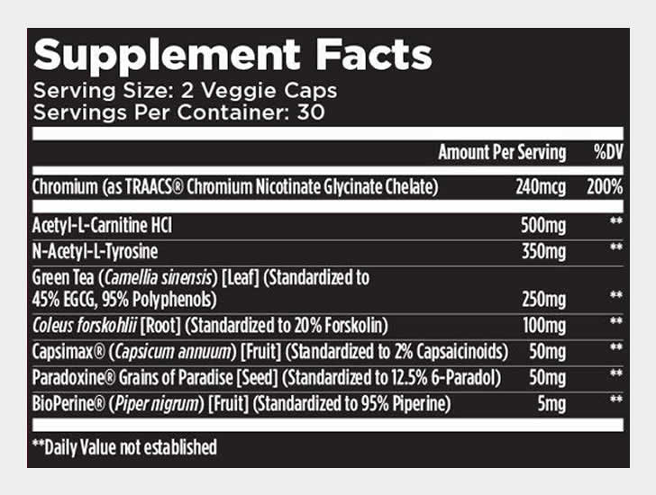 Star6urn ingredients label
