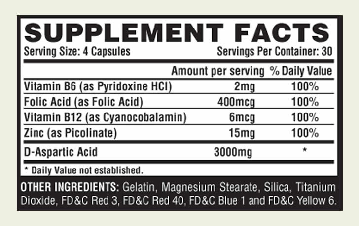 The T-Up Nutrex ingredients label