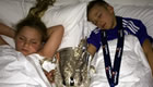 Photo: Chelsea's John Terry tucks his kids into bed with League Cup