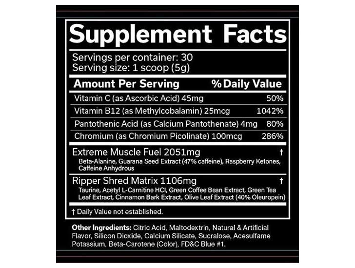 The Ripper Fat Burner ingredients label, as shown on Amazon.com at the time of writing