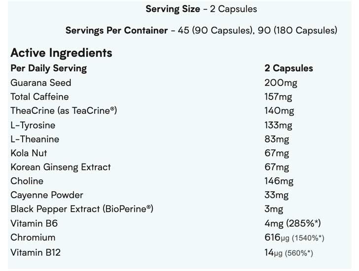 The Myprotein THE Thermo-X ingredients formula, shown on the official website at the time of writing