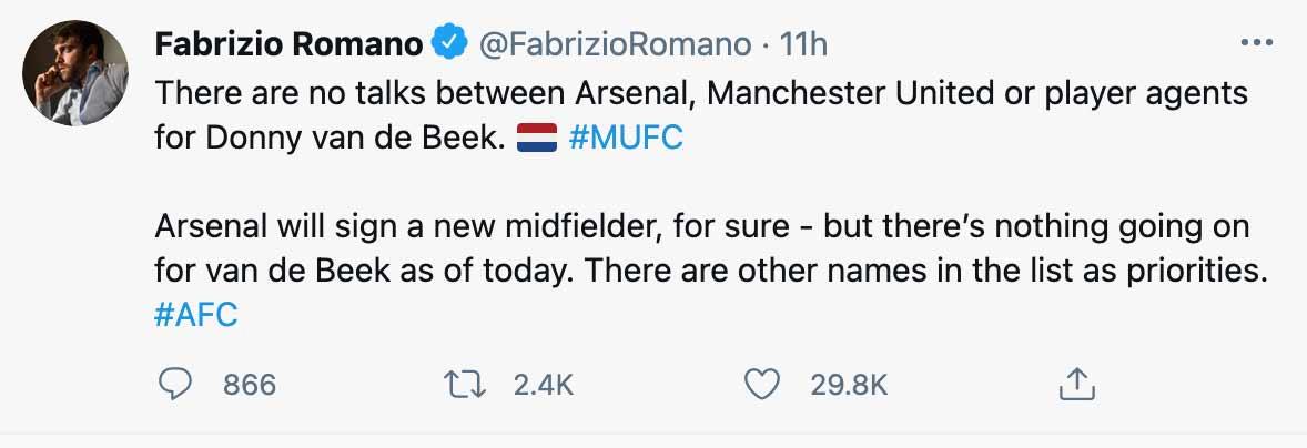Van De Beek Arsenal