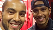 Photos: Arsenal's Theo Walcott poses with 'twin' Lewis Hamilton