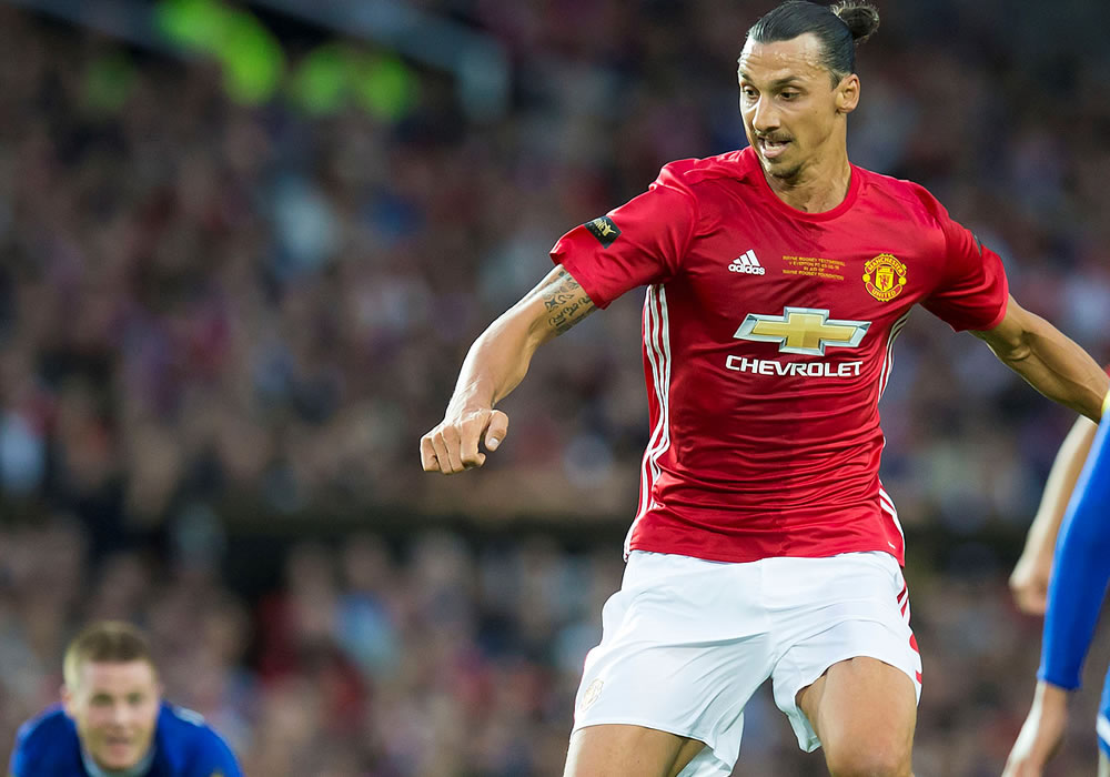 Zlatan Ibrahimovic trains at Carrington ahead of Liverpool clash